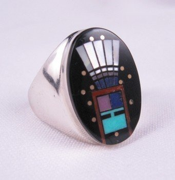Image 2 of Navajo Yei Kachina Inlay Starry Nite Ring sz11, Clayton Tom