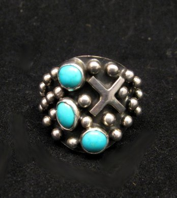 Image 0 of Native American Navajo ~ Ronnie Willie ~ Turquoise Silver Ring sz8