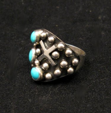 Image 1 of Native American Navajo ~ Ronnie Willie ~ Turquoise Silver Ring sz8
