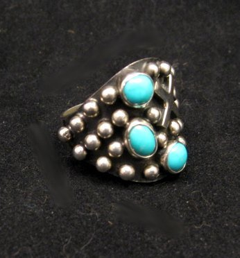 Image 2 of Native American Navajo ~ Ronnie Willie ~ Turquoise Silver Ring sz8