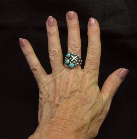 Image 3 of Native American Navajo ~ Ronnie Willie ~ Turquoise Silver Ring sz8