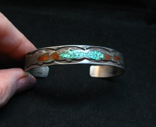 Image 0 of Vintage Native American Turquoise Coral Chip Inlay bracelet