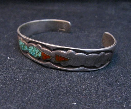 Image 2 of Vintage Native American Turquoise Coral Chip Inlay bracelet