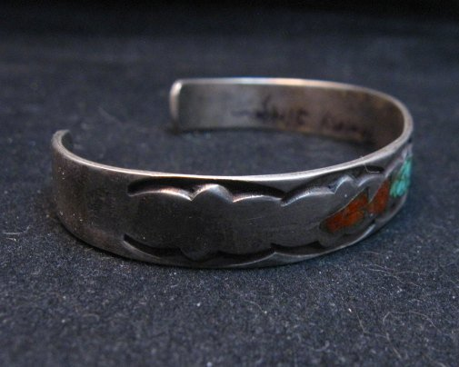 Image 3 of Vintage Native American Turquoise Coral Chip Inlay bracelet