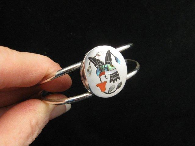 Image 2 of Sanford Edaakie Zuni Inlaid Hummingbird Silver Bracelet, Red Flower