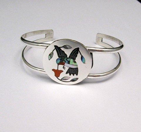 Image 0 of Sanford Edaakie, Zuni, Inlaid Hummingbird Silver Bracelet