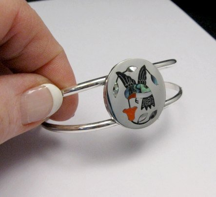 Image 1 of Sanford Edaakie Zuni Inlaid Hummingbird Silver Bracelet, Red Flower