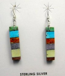 Santo Domingo Multigem Stick Earrings, Mary Tafoya