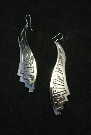 Image 0 of Very Long Native American Wavy Silver Earrings, Everett Mary Teller, 3-inch long