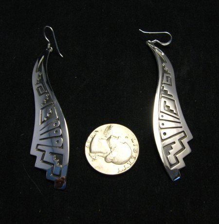 Image 1 of Very Long Native American Wavy Silver Earrings, Everett Mary Teller, 3-inch long