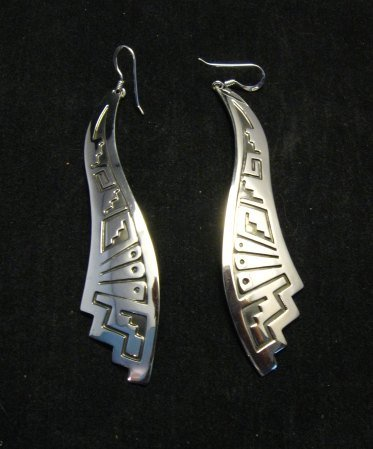 Image 2 of Very Long Native American Wavy Silver Earrings, Everett Mary Teller, 3-inch long