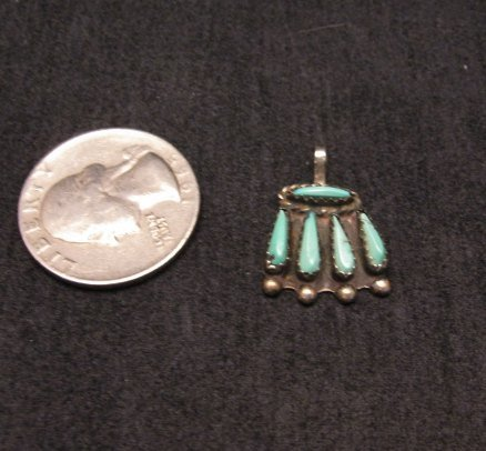 Image 1 of Vintage Native American Turquoise Petitpoint Silver Pendant / Charm