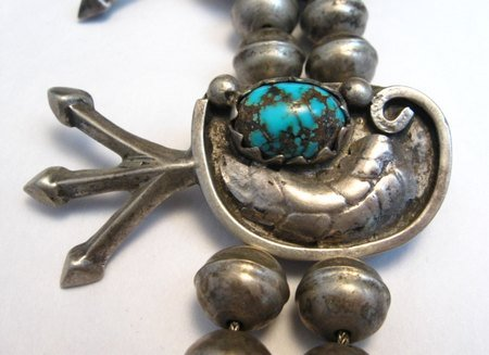 Image 3 of Vintage Dead Pawn Native American Turquoise Silver Squash Blossom Necklace