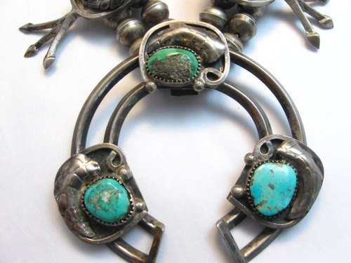 Image 5 of Vintage Dead Pawn Native American Turquoise Silver Squash Blossom Necklace