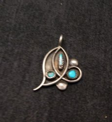 Vintage Native American Turquoise Silver Pendant / Charm