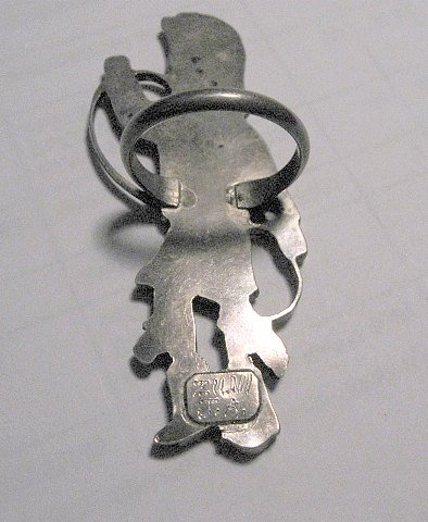 Image 3 of Vintage Zuni Dancer Inlay Silver Ring JA Calavaza sz7-1/2