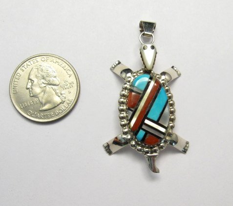 Image 1 of Wayne & Josie Haloo ~ Zuni Multi Inlay Turtle Pendant