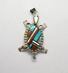 Wayne & Josie Haloo ~ Zuni Multi Inlay Turtle Pendant