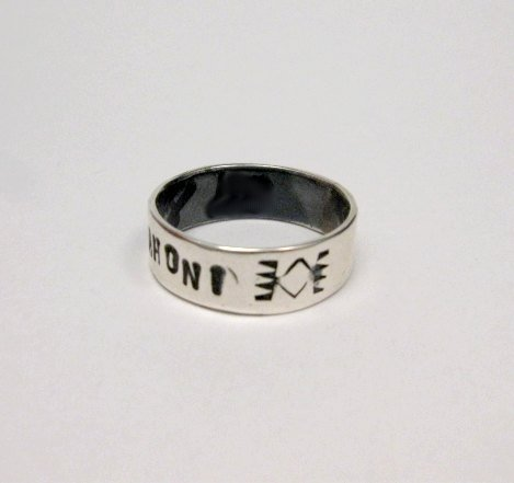 Image 2 of Navajo Sterling Silver PATIENCE Ring, Travis EMT Teller sz8-1/2