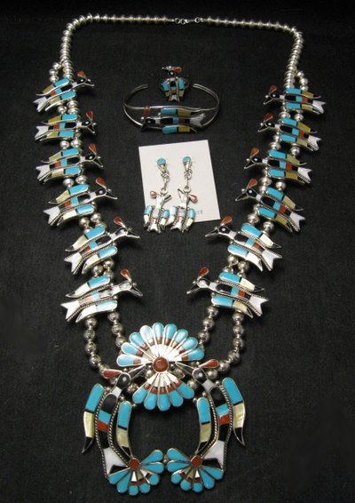 Image 1 of Zuni Inlaid Peyote Water Bird Necklace Earrings Bracelet Ring Set