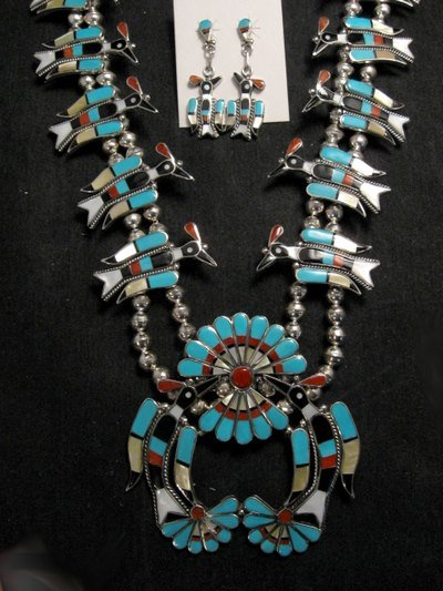 Image 0 of Zuni Inlaid Peyote Water Bird Necklace Earrings Bracelet Ring Set