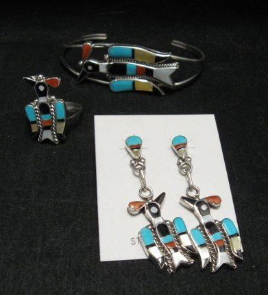 Image 5 of Zuni Inlaid Peyote Water Bird Necklace Earrings Bracelet Ring Set