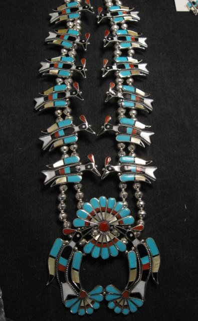 Image 6 of Zuni Inlaid Peyote Water Bird Necklace Earrings Bracelet Ring Set