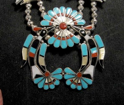 Image 2 of Zuni Inlaid Peyote Water Bird Necklace Earrings Bracelet Ring Set