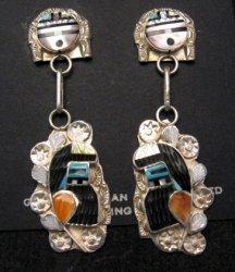 Zuni Inlaid Rain Dancer Kachina Earrings by Eldred Martinez