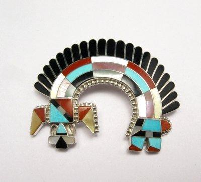 Image 0 of Zuni Inlay Rainbow Man Pin / Pendant - Fadrian & Vivica Bowannie