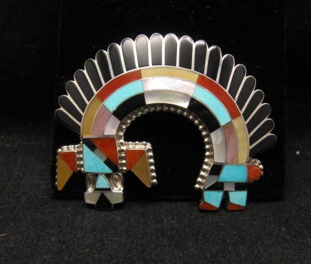 Image 1 of Zuni Inlay Rainbow Man Pin / Pendant - Fadrian & Vivica Bowannie