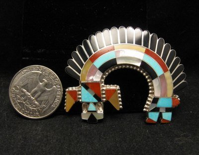 Image 2 of Zuni Inlay Rainbow Man Pin / Pendant - Fadrian & Vivica Bowannie