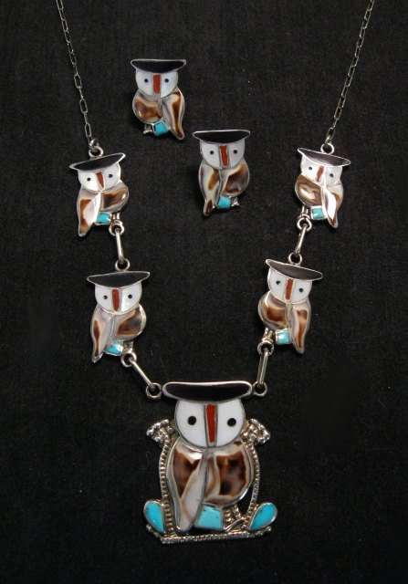 Image 0 of Zuni Multi Stone Inlay Owl Necklace & Earrings by Pitkin Natewa