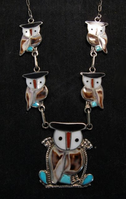 Image 1 of Zuni Multi Stone Inlay Owl Necklace & Earrings by Pitkin Natewa