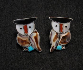Image 0 of Zuni Multi Stone Inlay Owl Earrings by Pitkin Natewa
