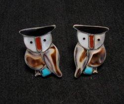 Zuni Multi Stone Inlay Owl Earrings by Pitkin Natewa