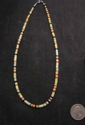 Rudy & Mary Coriz Santo Domingo Multistone Heishi Necklace 17 long