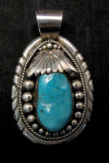 Image 0 of Large Robert & Bernice Leekya Zuni Sleeping Beauty Turquoise Pendant