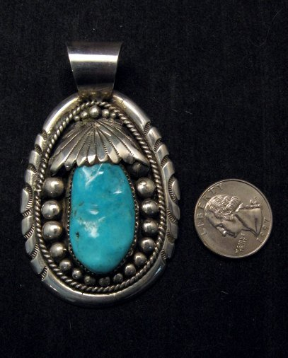 Image 1 of Large Robert & Bernice Leekya Zuni Sleeping Beauty Turquoise Pendant