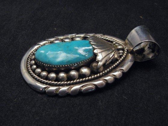 Image 2 of Large Robert & Bernice Leekya Zuni Sleeping Beauty Turquoise Pendant