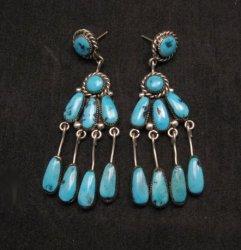 Long Robert & Bernice Leekya Zuni Turquoise Chandelier Earrings