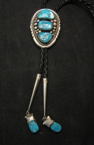Image 0 of Robert & Bernice Leekya Zuni Sleeping Beauty Turquoise Silver Bolo