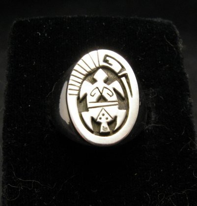 Image 0 of Navajo Calvin Peterson Sterling Silver Turtle Ring sz11
