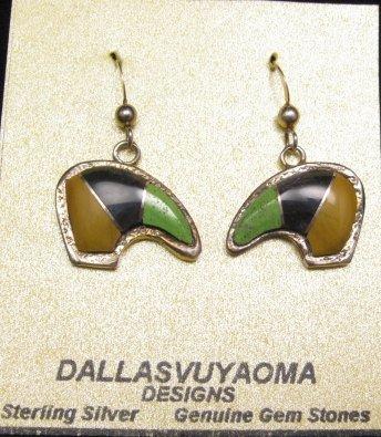 Image 0 of Hopi Multistone Inlay Bear Earrings, Bennard & Frances Dallasvuyaoma