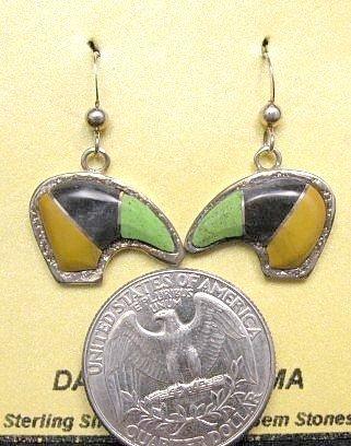 Image 1 of Hopi Multistone Inlay Bear Earrings, Bennard & Frances Dallasvuyaoma