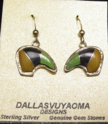 Hopi Multistone Inlay Bear Earrings, Bennard & Frances Dallasvuyaoma