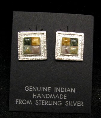 Image 0 of Hopi Multigem Inlay Earrings, Bennard & Frances Dallasvuyaoma
