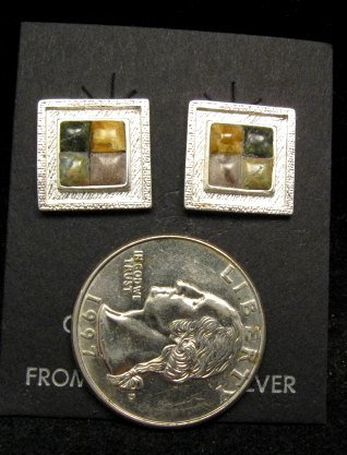 Image 1 of Hopi Multigem Inlay Earrings, Bennard & Frances Dallasvuyaoma