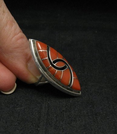 Image 1 of Amy Quandelacy ~ Zuni ~ Coral Inlay Sterling Silver Ring sz6-1/2