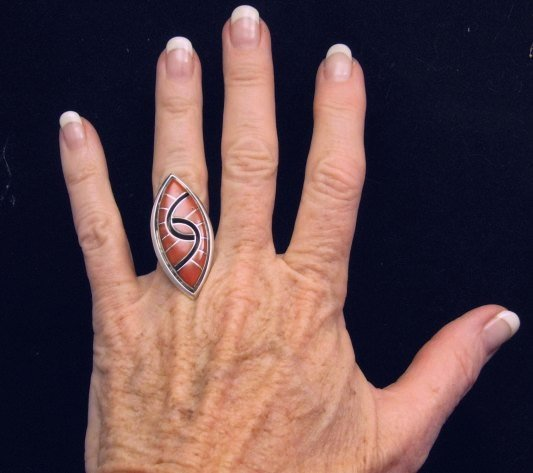 Image 3 of Amy Quandelacy ~ Zuni ~ Coral Inlay Sterling Silver Ring sz6-1/2